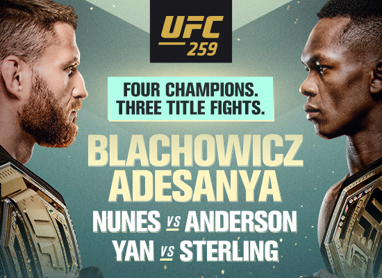 UFC 259: Three Title Fights on 3/6